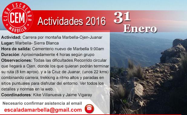 Actividad CEM Carrera por montaña marbella ojen juanar 31012016
