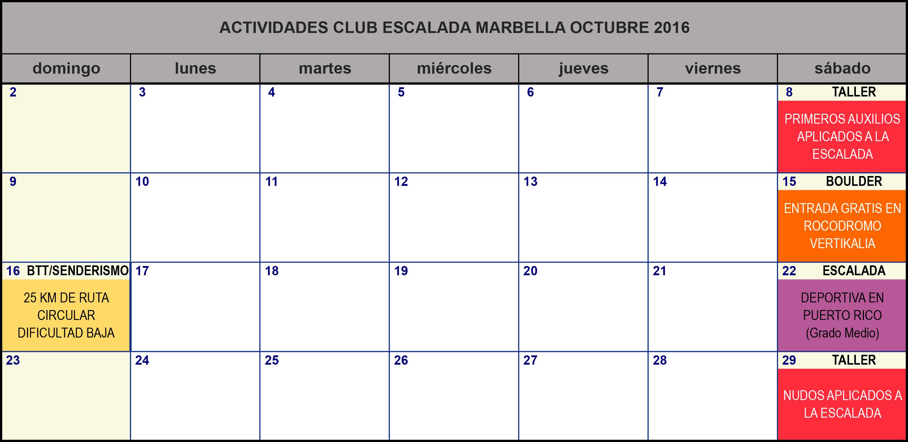 Calendario De Actividades Eventos: Calendario De Actividades Club Escalada Marbella Octubre 2016
