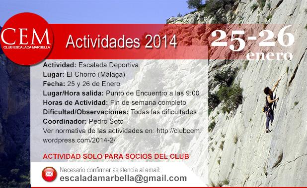 Actividad El Chorro 25 y 26 enero 2014