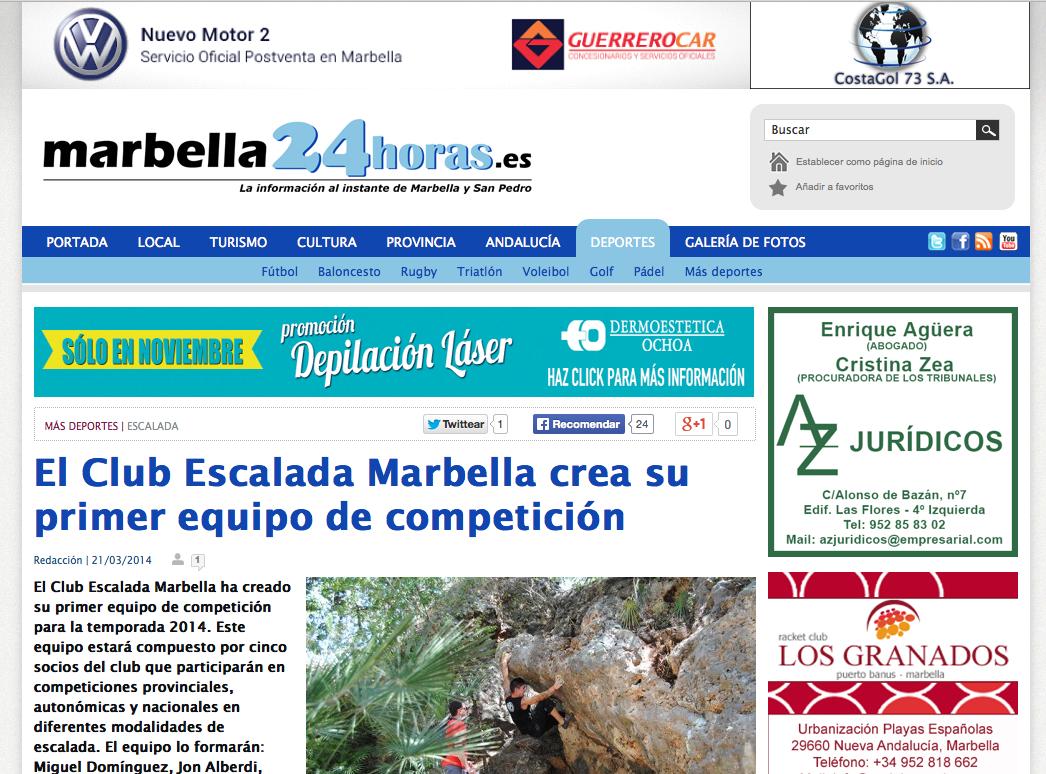 El Club Escalada Marbella crea su primer equipo de competición