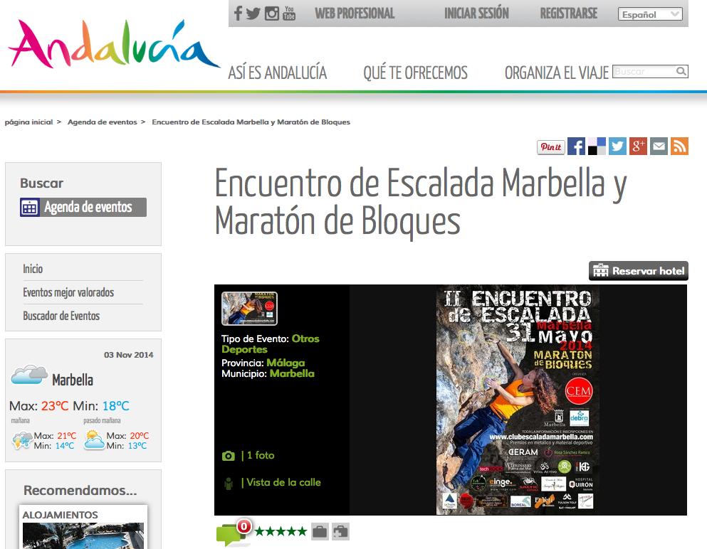 Encuentro de Escalada Marbella y Maratón de Bloques
