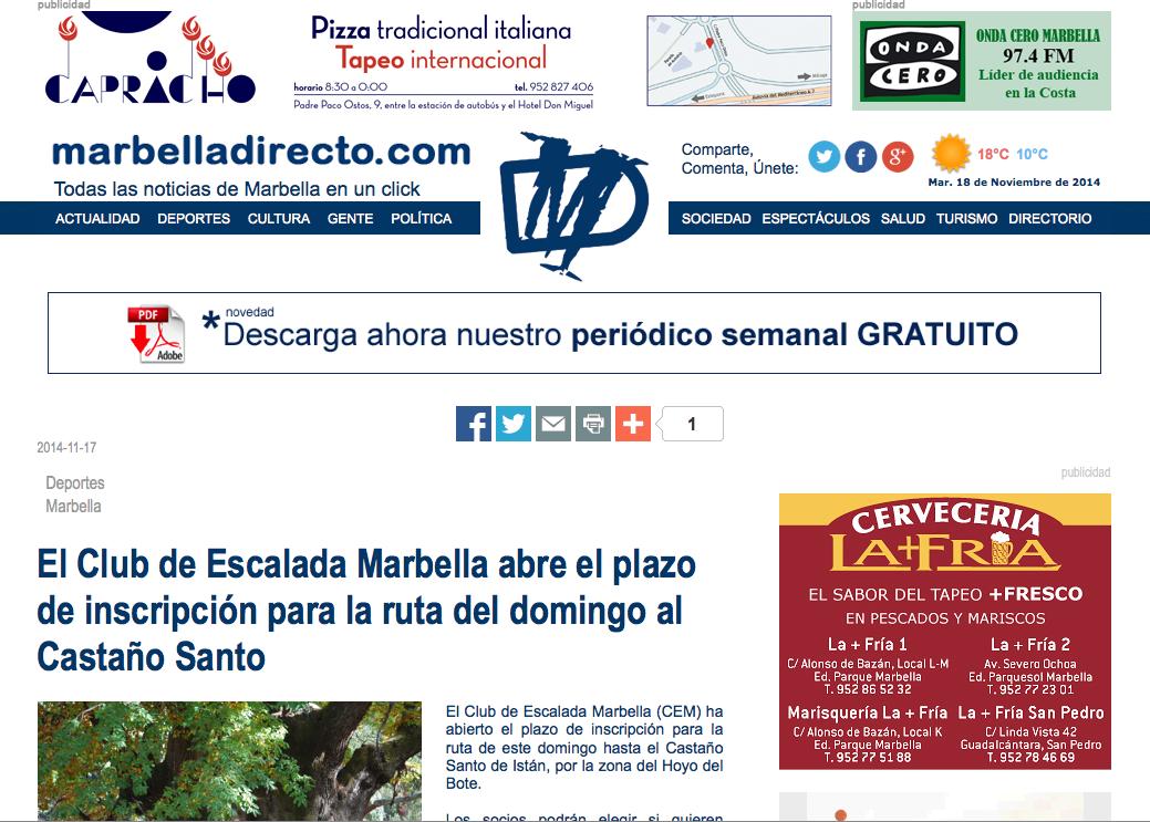 El Club de Escalada Marbella abre el plazo de inscripción para la ruta del domingo al Castaño Santo