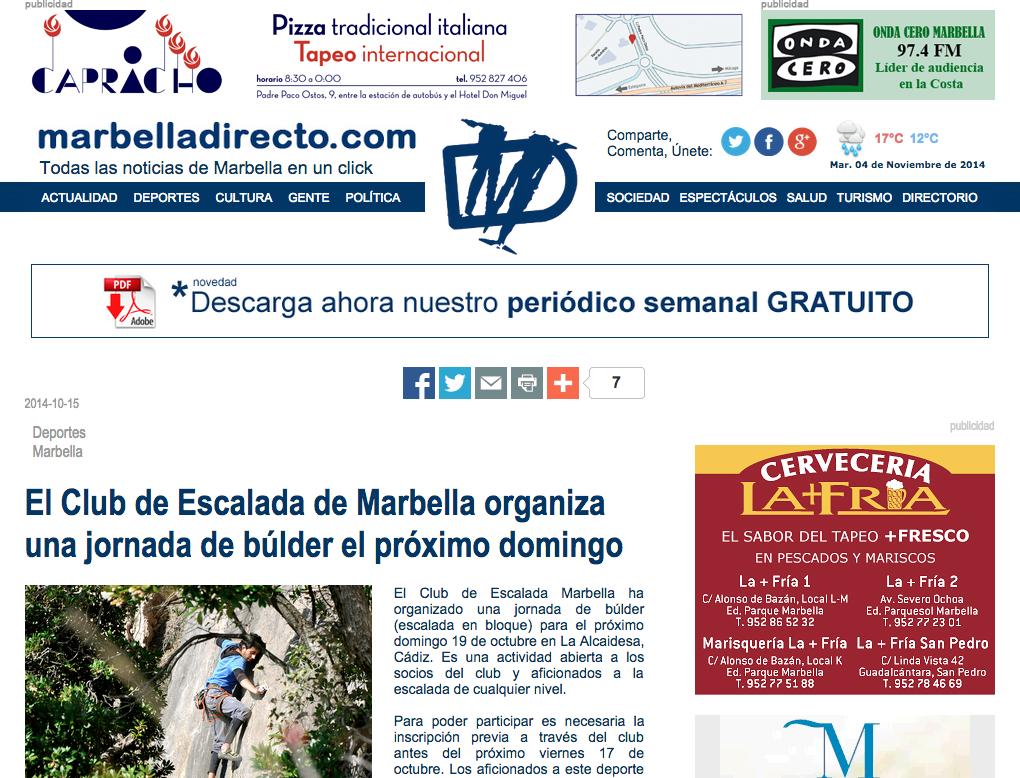 El Club de Escalada de Marbella organiza una jornada de búlder el próximo domingo