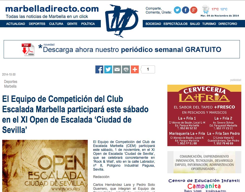 El Equipo de Competición del Club Escalada Marbella participará este sábado en el XI Open de Escalada 'Ciudad de Sevilla'