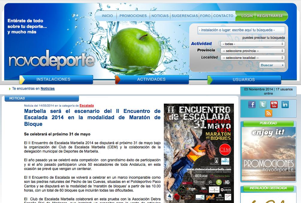 Marbella será el escenario del II Encuentro de Escalada 2014 en la modalidad de Maratón de Bloque