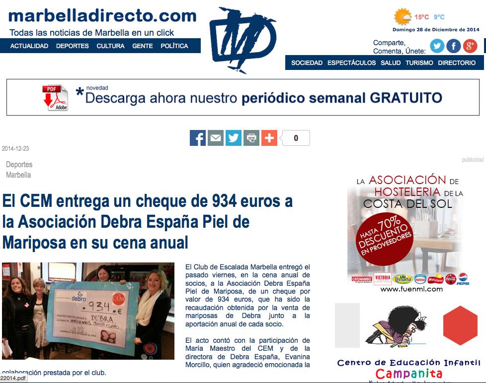 El CEM entrega un cheque de 934 euros a la Asociación Debra España Piel de Mariposa en su cena anual