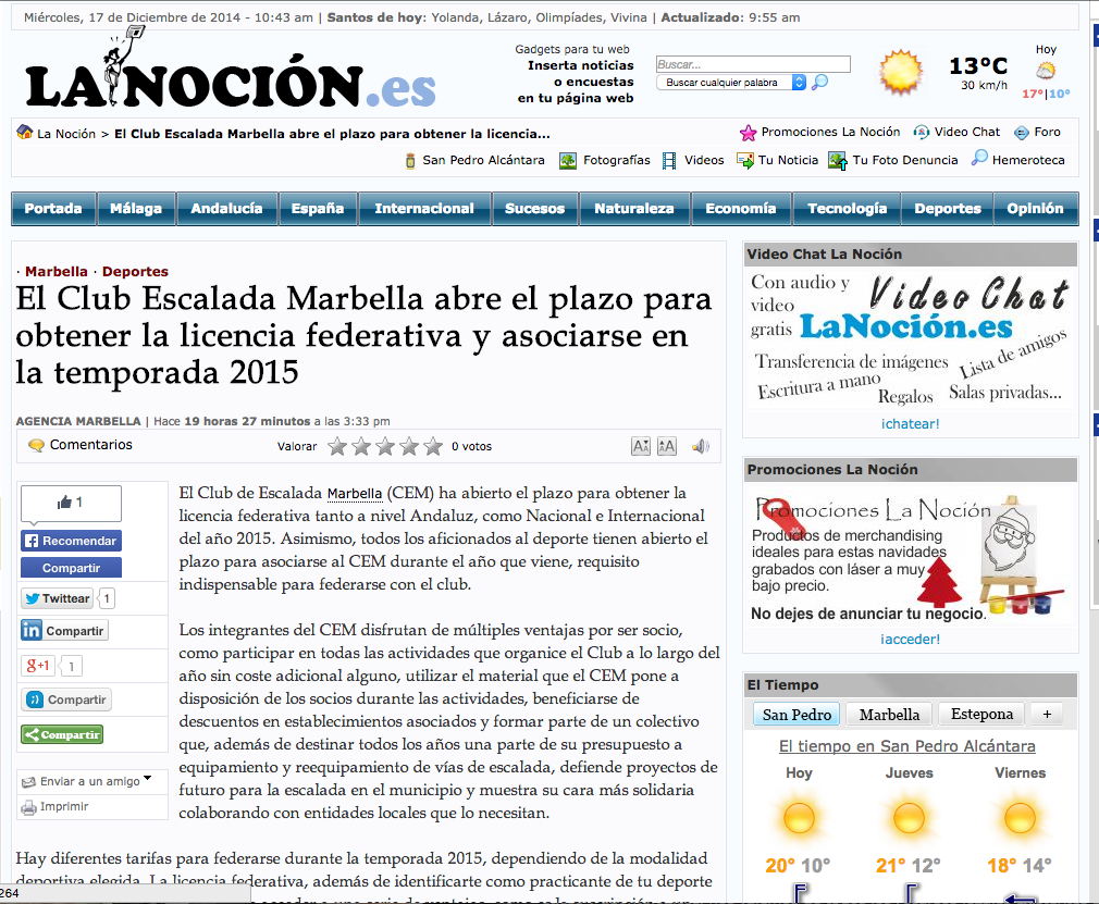 El Club Escalada Marbella abre el plazo para obtener la licencia federativa y asociarse en la temporada 2015