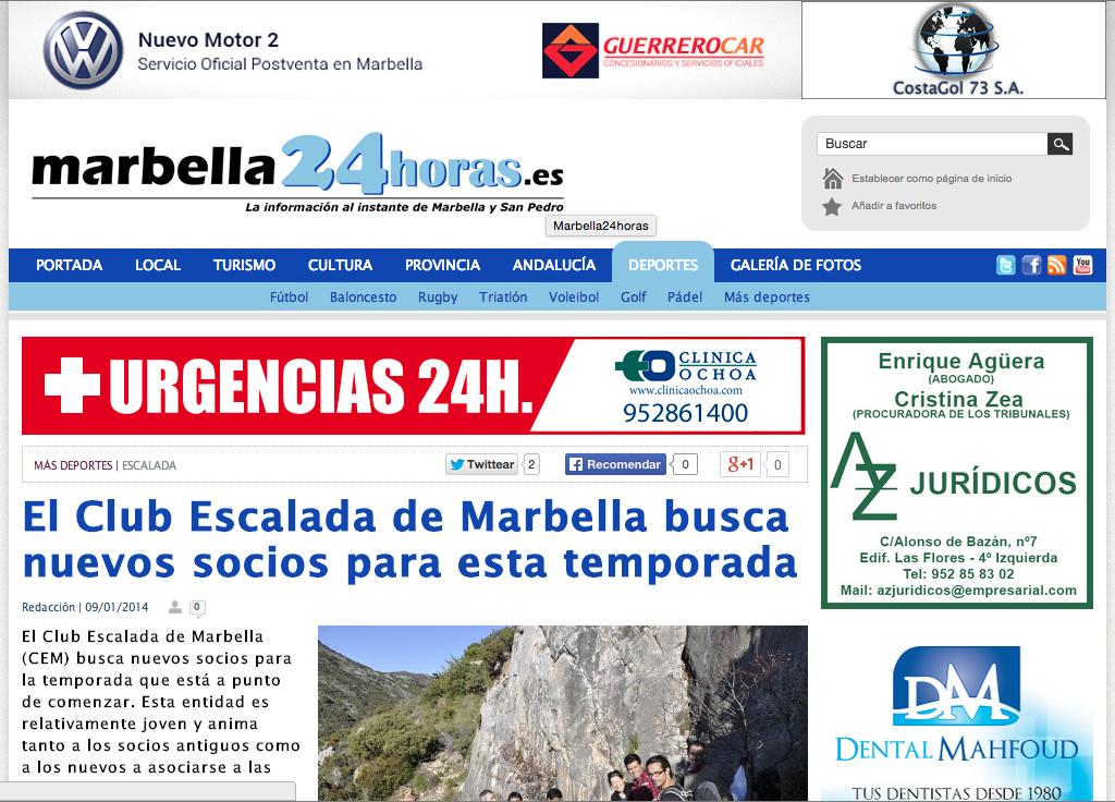 El Club Escalada de Marbella busca nuevos socios para esta temporada