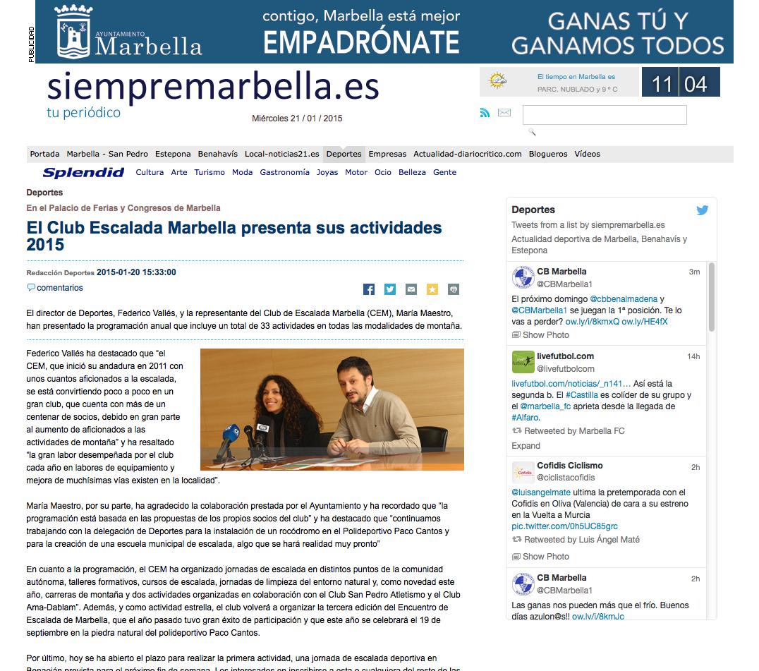 El Club Escalada Marbella presenta sus actividades 2015