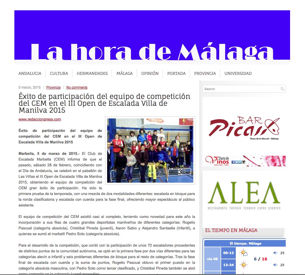 Éxito de participación del equipo de competición del CEM en el III Open de Escalada Villa de Manilva 2015