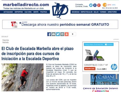 El Club de Escalada Marbella abre el plazo de inscripción para dos cursos de Iniciación a la Escalada Deportiva