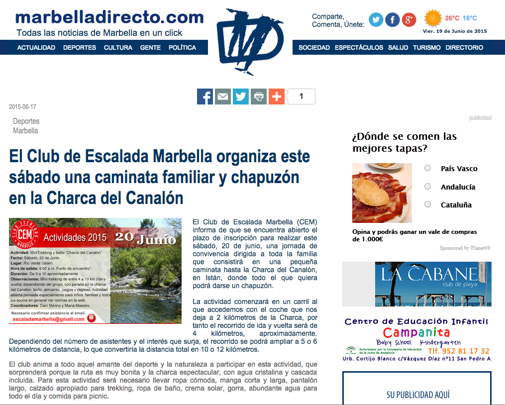 El Club de Escalada Marbella organiza este sábado una caminata familiar y chapuzón en la Charca del Canalón