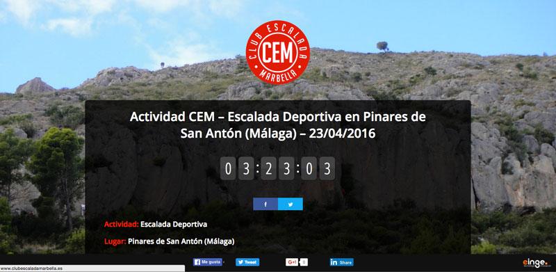 Actividad CEM – Escalada Deportiva en Pinares de San Antón (Málaga) – 23/04/2016